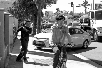 Bike and pedestrian commuters meet Los Angeles traffic.