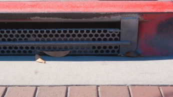 A well maintained gutter at the University of Southern California remains free of debris save for a leaf or two.